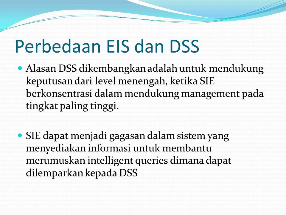 Perbedaan EIS dan DSS Alasan DSS dikembangkan adalah untuk mendukung keputusan dari level menengah, ketika SIE berkonsentrasi dalam mendukung manageme