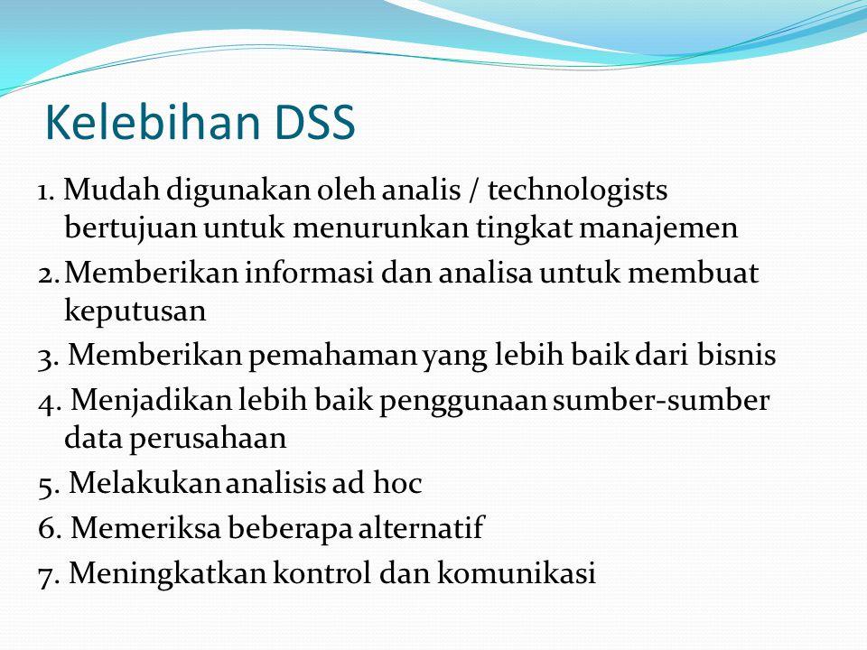 Kelebihan DSS 1. Mudah digunakan oleh analis / technologists bertujuan untuk menurunkan tingkat manajemen 2.Memberikan informasi dan analisa untuk mem
