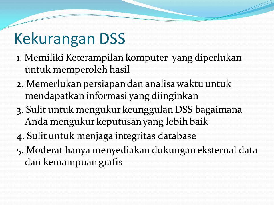 Kekurangan DSS 1. Memiliki Keterampilan komputer yang diperlukan untuk memperoleh hasil 2. Memerlukan persiapan dan analisa waktu untuk mendapatkan in