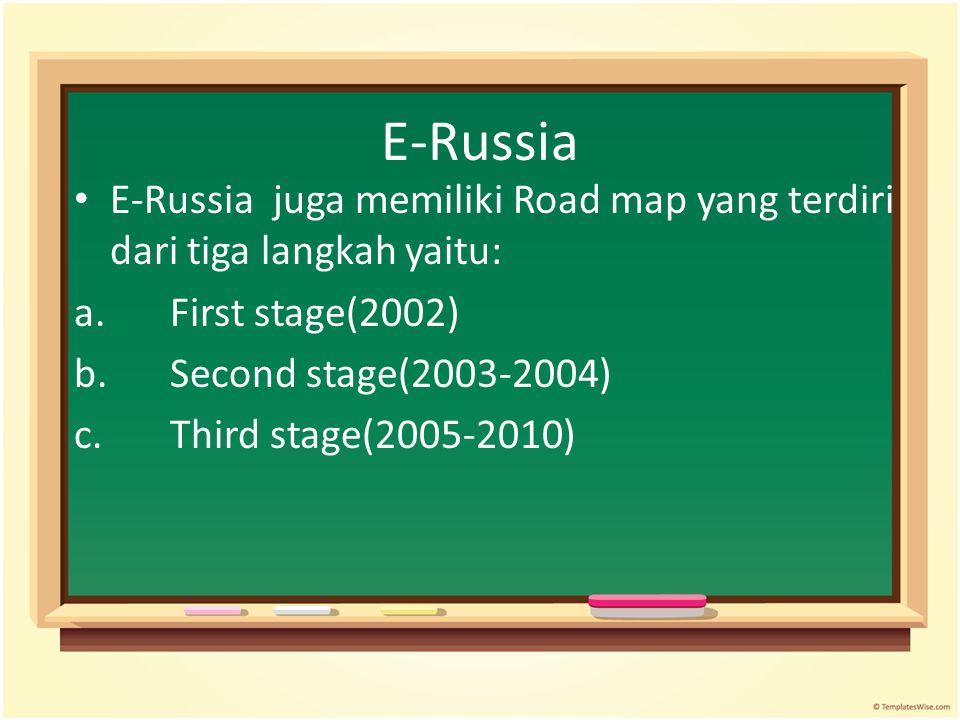 E-Russia E-Russia juga memiliki Road map yang terdiri dari tiga langkah yaitu: a.First stage(2002) b.Second stage(2003-2004) c.Third stage(2005-2010)