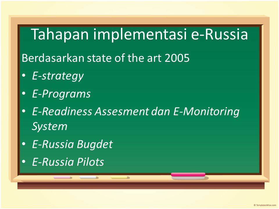 Tahapan implementasi e-Russia Berdasarkan state of the art 2005 E-strategy E-Programs E-Readiness Assesment dan E-Monitoring System E-Russia Bugdet E-