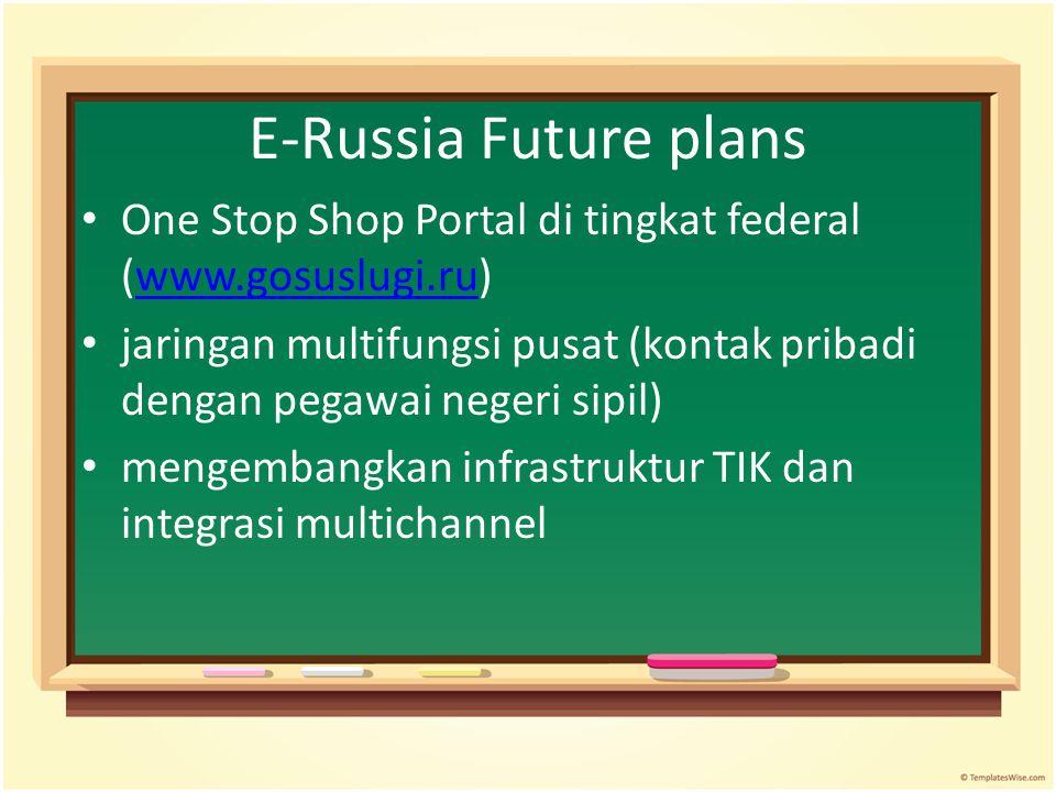 E-Russia Future plans One Stop Shop Portal di tingkat federal (www.gosuslugi.ru)www.gosuslugi.ru jaringan multifungsi pusat (kontak pribadi dengan peg