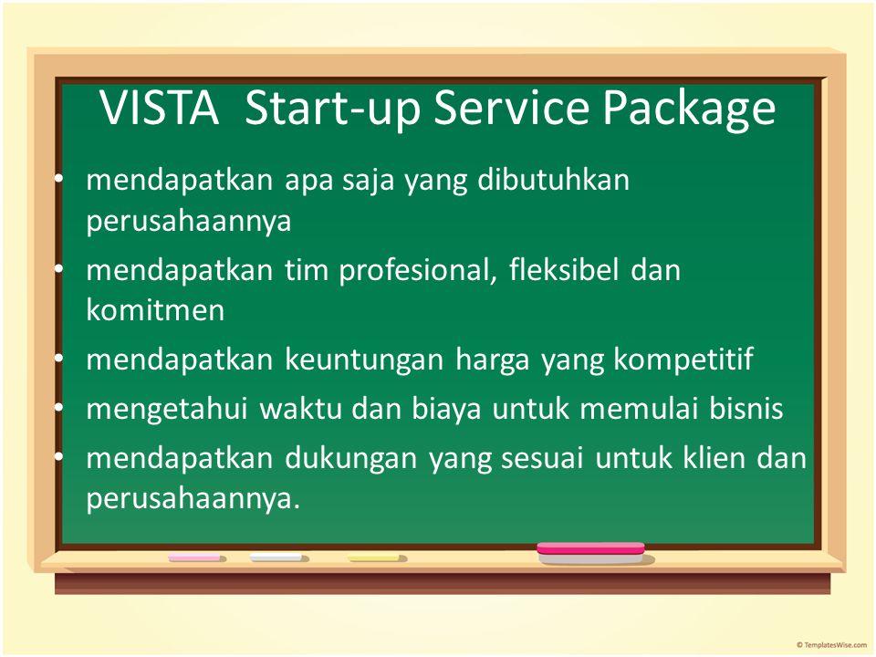 VISTA Start-up Service Package mendapatkan apa saja yang dibutuhkan perusahaannya mendapatkan tim profesional, fleksibel dan komitmen mendapatkan keun
