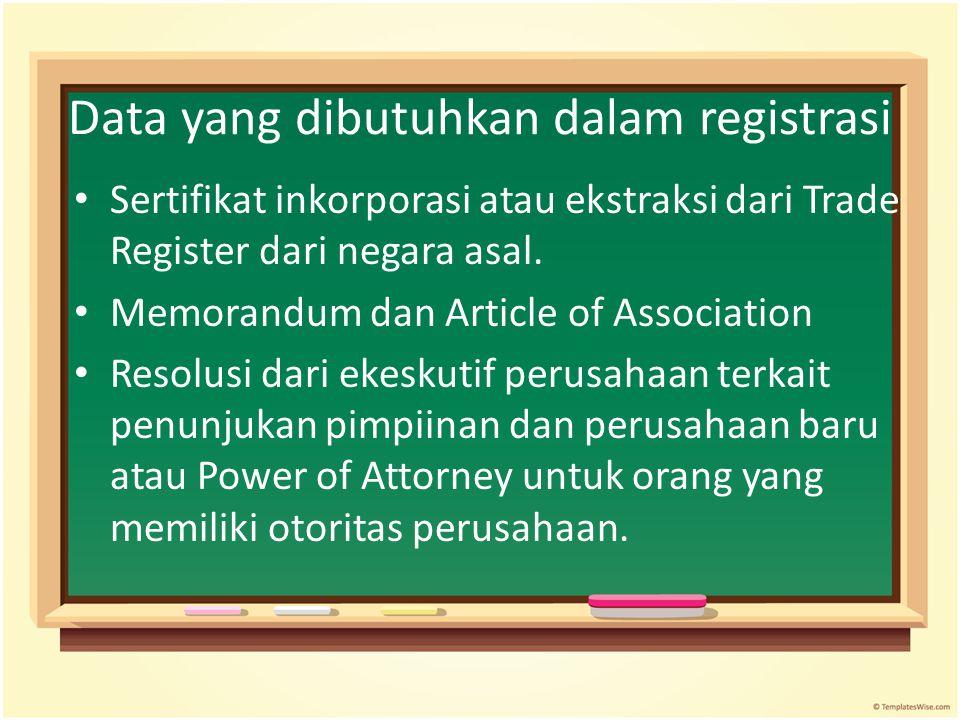 Data yang dibutuhkan dalam registrasi Sertifikat inkorporasi atau ekstraksi dari Trade Register dari negara asal. Memorandum dan Article of Associatio