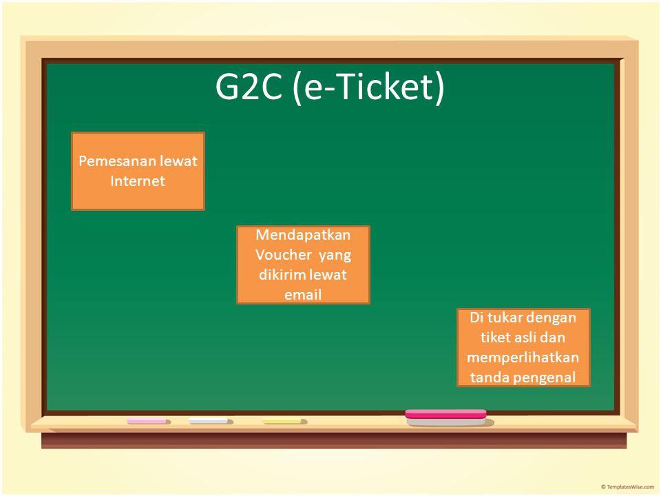 G2C (e-Ticket) Pemesanan lewat Internet Di tukar dengan tiket asli dan memperlihatkan tanda pengenal Mendapatkan Voucher yang dikirim lewat email