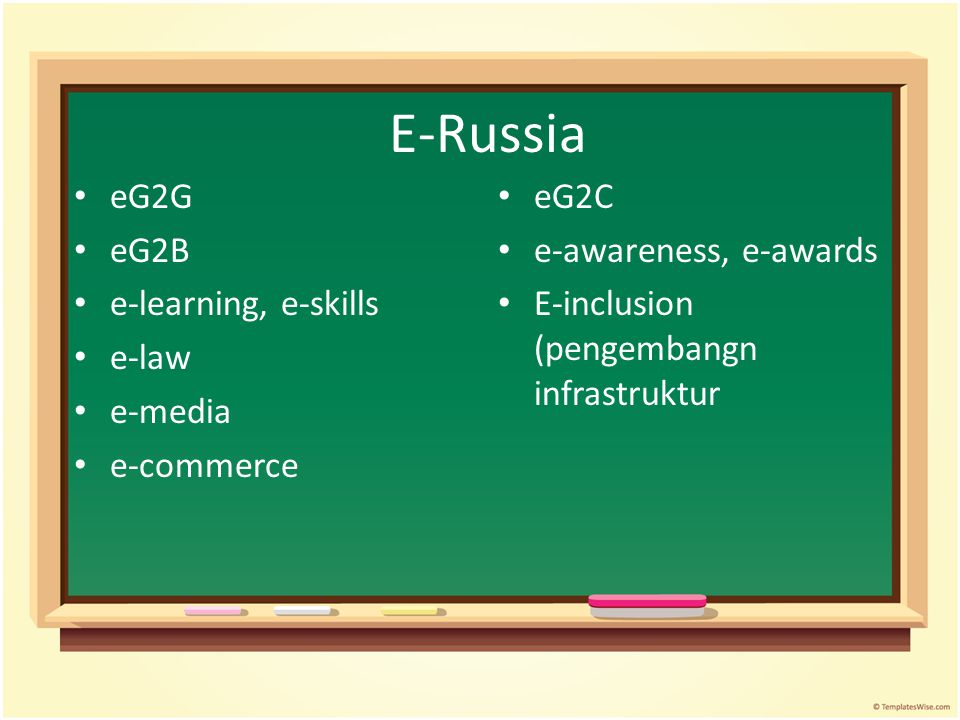 E-Russia eG2G eG2B e-learning, e-skills e-law e-media e-commerce eG2C e-awareness, e-awards E-inclusion (pengembangn infrastruktur