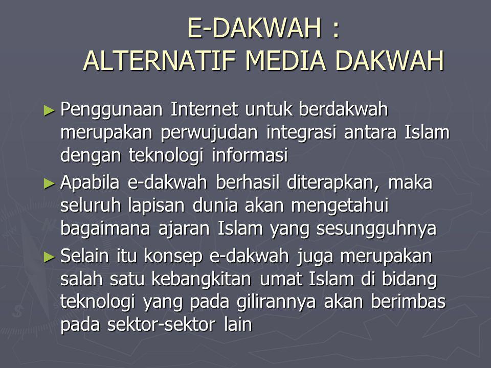 E-DAKWAH : ALTERNATIF MEDIA DAKWAH ► Penggunaan Internet untuk berdakwah merupakan perwujudan integrasi antara Islam dengan teknologi informasi ► Apab
