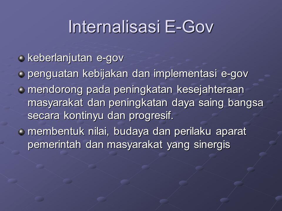 Internalisasi E-Gov keberlanjutan e-gov penguatan kebijakan dan implementasi e-gov mendorong pada peningkatan kesejahteraan masyarakat dan peningkatan daya saing bangsa secara kontinyu dan progresif.