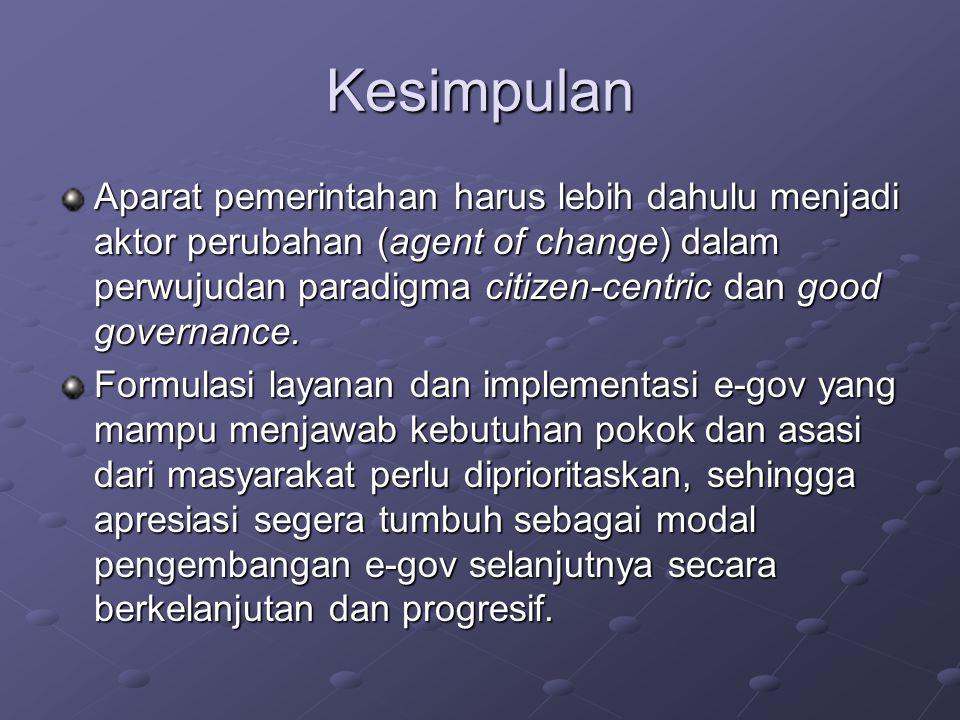 Kesimpulan Aparat pemerintahan harus lebih dahulu menjadi aktor perubahan (agent of change) dalam perwujudan paradigma citizen-centric dan good governance.