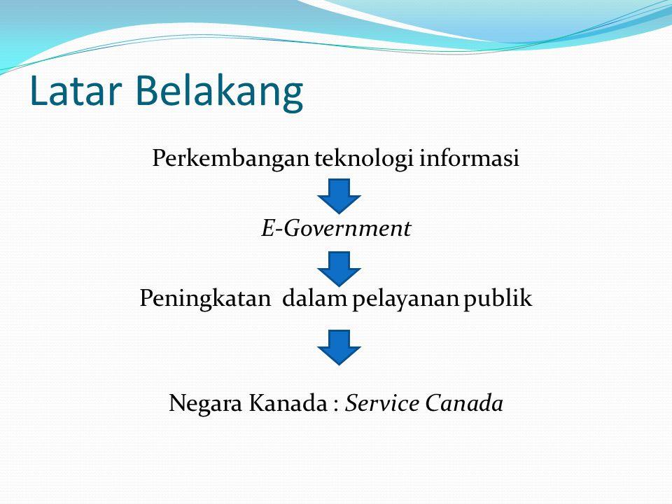 Latar Belakang Perkembangan teknologi informasi E-Government Peningkatan dalam pelayanan publik Negara Kanada : Service Canada