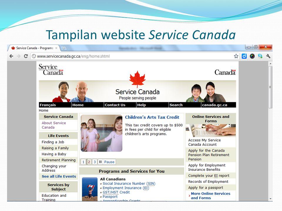 Tampilan website Service Canada