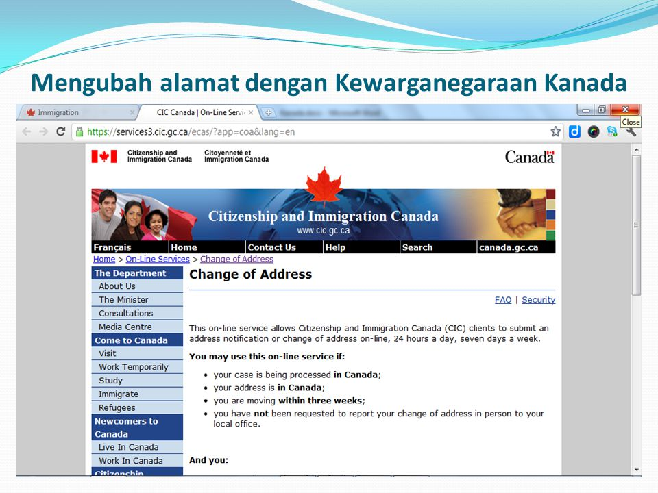 Mengubah alamat dengan Kewarganegaraan Kanada