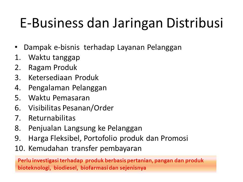 E-Business dan Jaringan Distribusi Dampak e-bisnis terhadap Layanan Pelanggan 1.Waktu tanggap 2.Ragam Produk 3.Ketersediaan Produk 4.Pengalaman Pelanggan 5.Waktu Pemasaran 6.Visibilitas Pesanan/Order 7.Returnabilitas 8.Penjualan Langsung ke Pelanggan 9.Harga Fleksibel, Portofolio produk dan Promosi 10.Kemudahan transfer pembayaran Perlu investigasi terhadap produk berbasis pertanian, pangan dan produk bioteknologi, biodiesel, biofarmasi dan sejenisnya