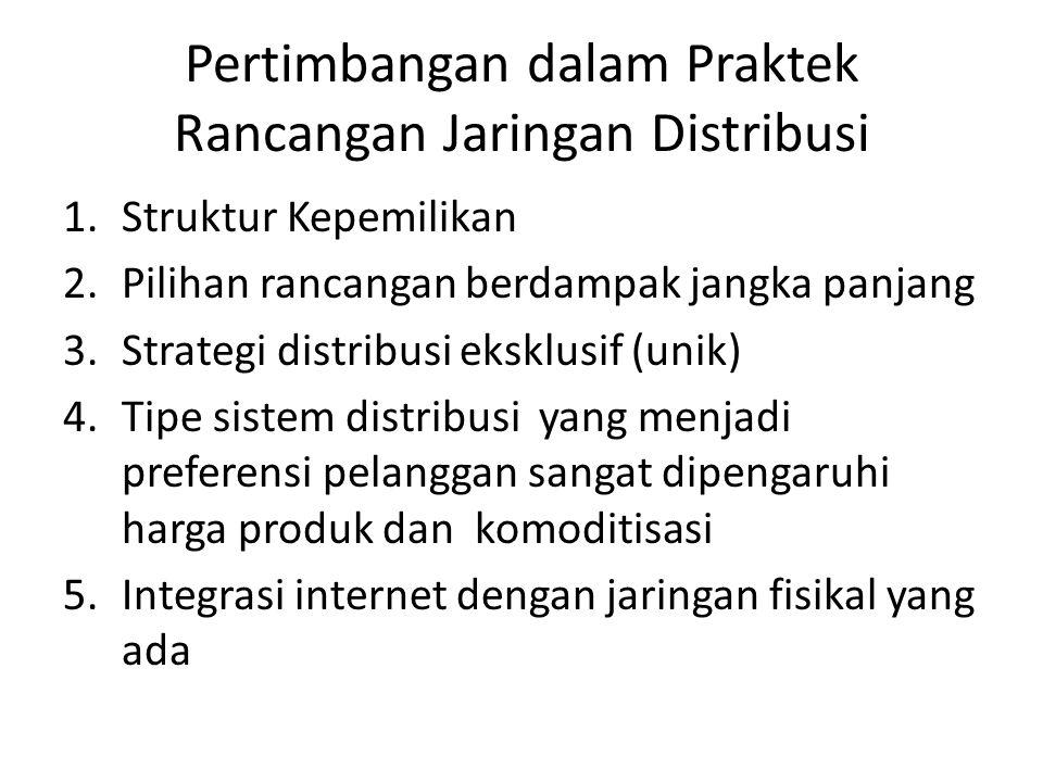 Pertimbangan dalam Praktek Rancangan Jaringan Distribusi 1.Struktur Kepemilikan 2.Pilihan rancangan berdampak jangka panjang 3.Strategi distribusi eksklusif (unik) 4.Tipe sistem distribusi yang menjadi preferensi pelanggan sangat dipengaruhi harga produk dan komoditisasi 5.Integrasi internet dengan jaringan fisikal yang ada