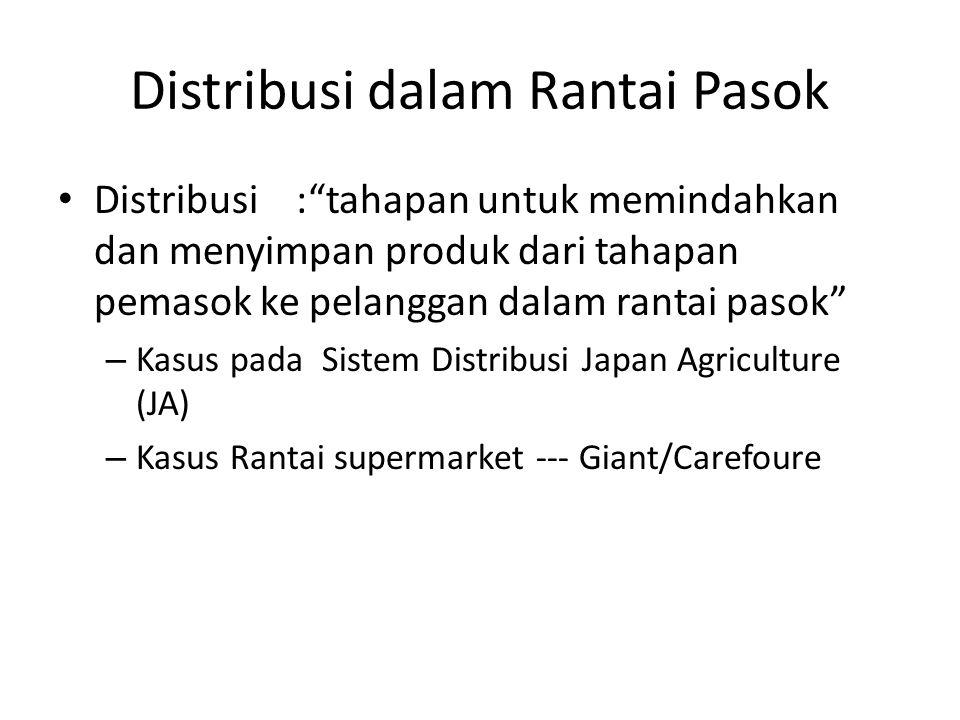 Distribusi dalam Rantai Pasok Distribusi : tahapan untuk memindahkan dan menyimpan produk dari tahapan pemasok ke pelanggan dalam rantai pasok – Kasus pada Sistem Distribusi Japan Agriculture (JA) – Kasus Rantai supermarket --- Giant/Carefoure