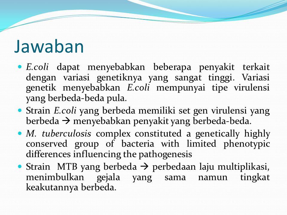 Klasifikasi e.coli patogenik Serotyping  klasifikasi berdasarkan reaktivitas molekul permukaan bakteri dengan antibodi yang sangat beragam Virotyping  klasifikasi berdasarkan faktor virulensi
