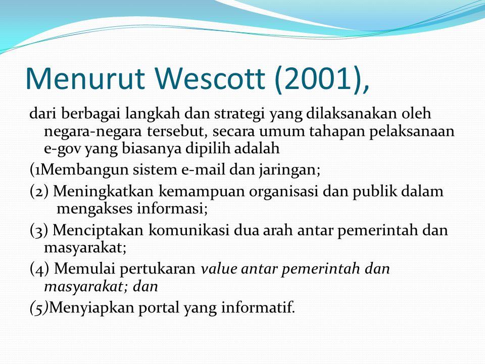 Menurut Wescott (2001), dari berbagai langkah dan strategi yang dilaksanakan oleh negara-negara tersebut, secara umum tahapan pelaksanaan e-gov yang biasanya dipilih adalah (1Membangun sistem e-mail dan jaringan; (2) Meningkatkan kemampuan organisasi dan publik dalam mengakses informasi; (3) Menciptakan komunikasi dua arah antar pemerintah dan masyarakat; (4) Memulai pertukaran value antar pemerintah dan masyarakat; dan (5)Menyiapkan portal yang informatif.