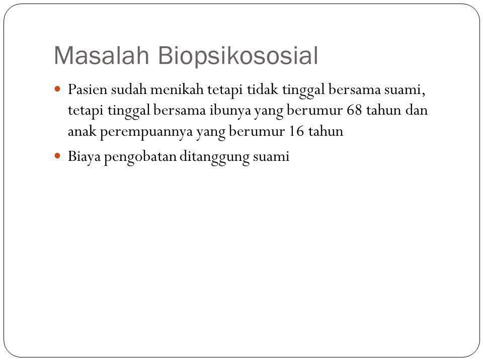 Masalah Biopsikososial Pasien sudah menikah tetapi tidak tinggal bersama suami, tetapi tinggal bersama ibunya yang berumur 68 tahun dan anak perempuannya yang berumur 16 tahun Biaya pengobatan ditanggung suami