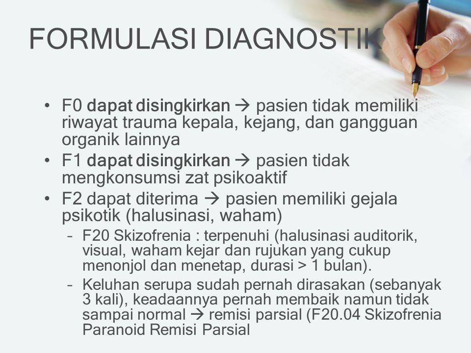 FORMULASI DIAGNOSTIK F0 dapat disingkirkan  pasien tidak memiliki riwayat trauma kepala, kejang, dan gangguan organik lainnya F1 dapat disingkirkan 