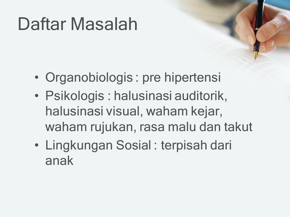 Daftar Masalah Organobiologis : pre hipertensi Psikologis : halusinasi auditorik, halusinasi visual, waham kejar, waham rujukan, rasa malu dan takut L