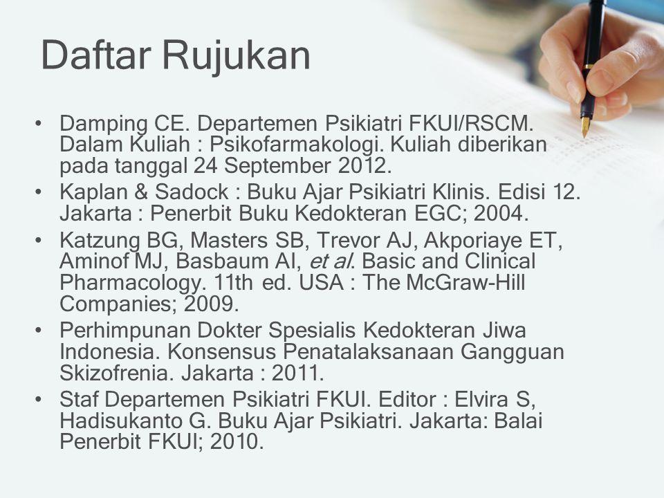 Daftar Rujukan Damping CE. Departemen Psikiatri FKUI/RSCM. Dalam Kuliah : Psikofarmakologi. Kuliah diberikan pada tanggal 24 September 2012. Kaplan &