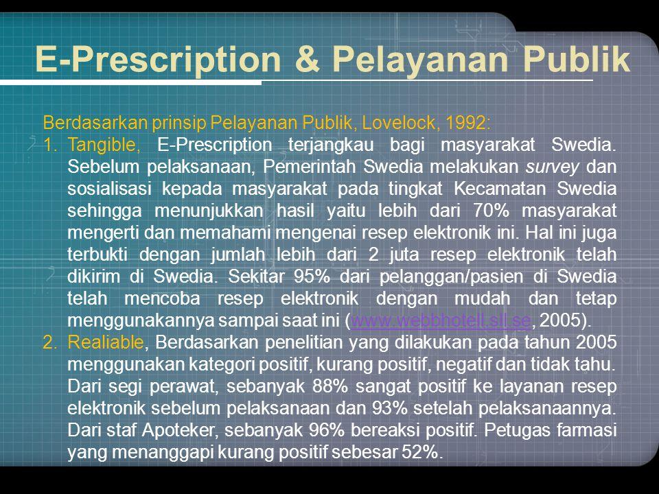 E-Prescription & Pelayanan Publik Berdasarkan prinsip Pelayanan Publik, Lovelock, 1992: 1.Tangible, E-Prescription terjangkau bagi masyarakat Swedia.