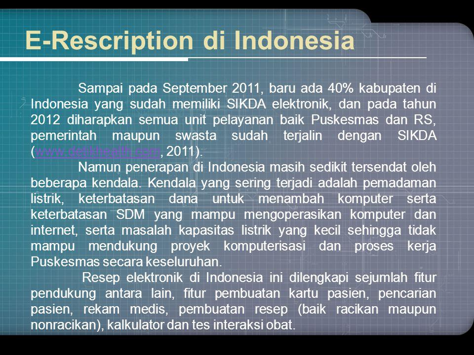 E-Rescription di Indonesia Sampai pada September 2011, baru ada 40% kabupaten di Indonesia yang sudah memiliki SIKDA elektronik, dan pada tahun 2012 d