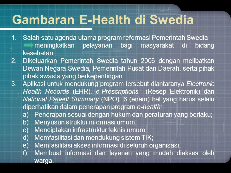 Gambaran E-Health di Swedia 1.Salah satu agenda utama program reformasi Pemerintah Swedia meningkatkan pelayanan bagi masyarakat di bidang kesehatan.