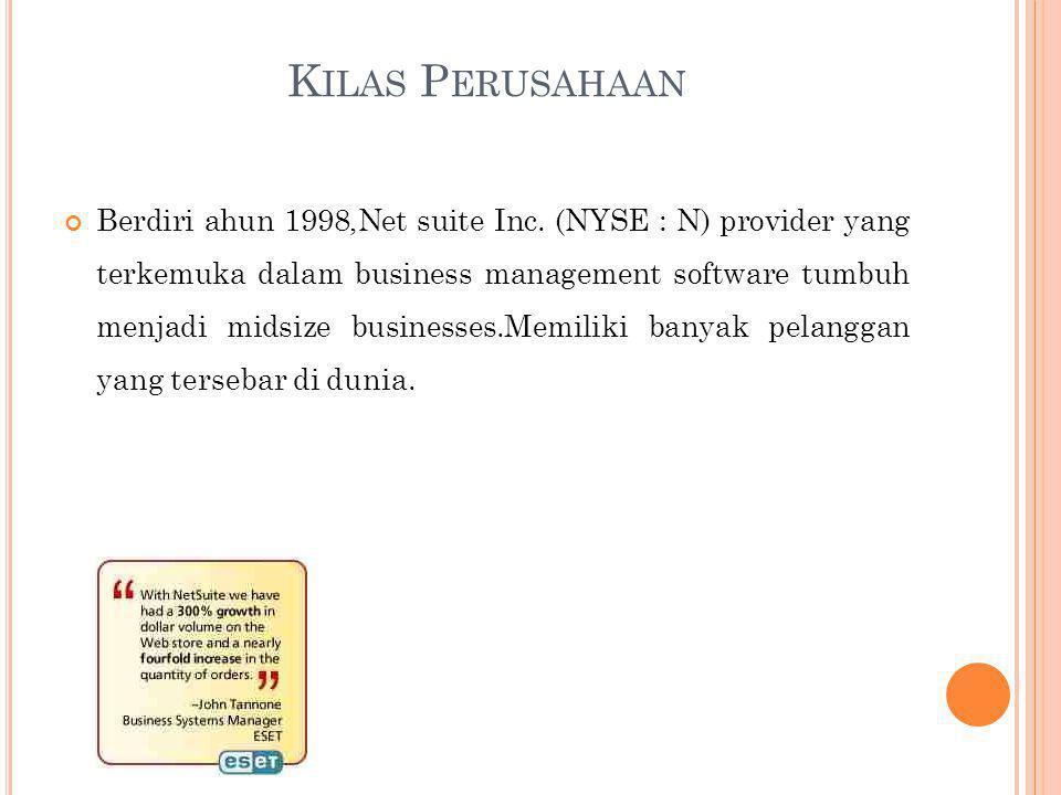 K ILAS P ERUSAHAAN Berdiri ahun 1998,Net suite Inc.