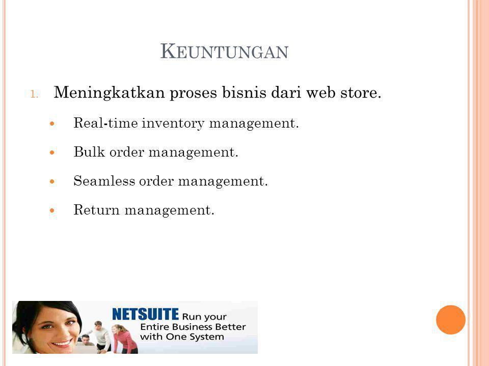 K EUNTUNGAN 1. Meningkatkan proses bisnis dari web store.