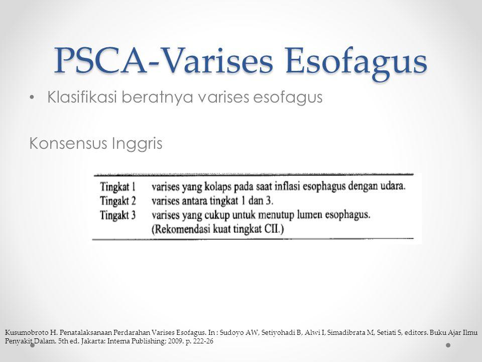 PSCA-Varises Esofagus Klasifikasi beratnya varises esofagus Konsensus Inggris Kusumobroto H.
