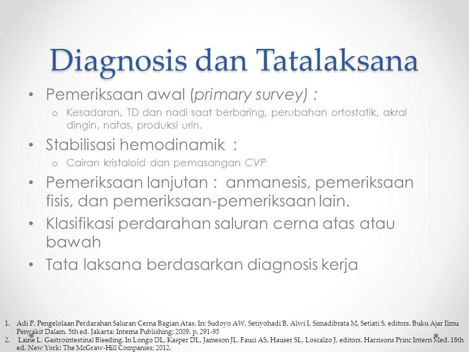 Diagnosis dan Tatalaksana Pemeriksaan awal (primary survey) : o Kesadaran, TD dan nadi saat berbaring, perubahan ortostatik, akral dingin, nafas, produksi urin.