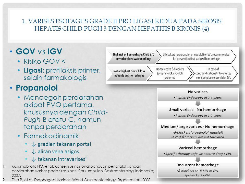 1. VARISES ESOFAGUS GRADE II PRO LIGASI KEDUA PADA SIROSIS HEPATIS CHILD PUGH 3 DENGAN HEPATITIS B KRONIS (4) GOV vs IGV Risiko GOV < Ligasi : profila