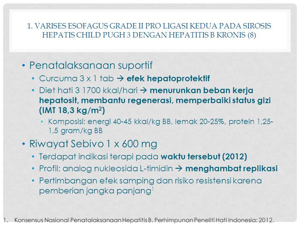 1. VARISES ESOFAGUS GRADE II PRO LIGASI KEDUA PADA SIROSIS HEPATIS CHILD PUGH 3 DENGAN HEPATITIS B KRONIS (8) Penatalaksanaan suportif Curcuma 3 x 1 t