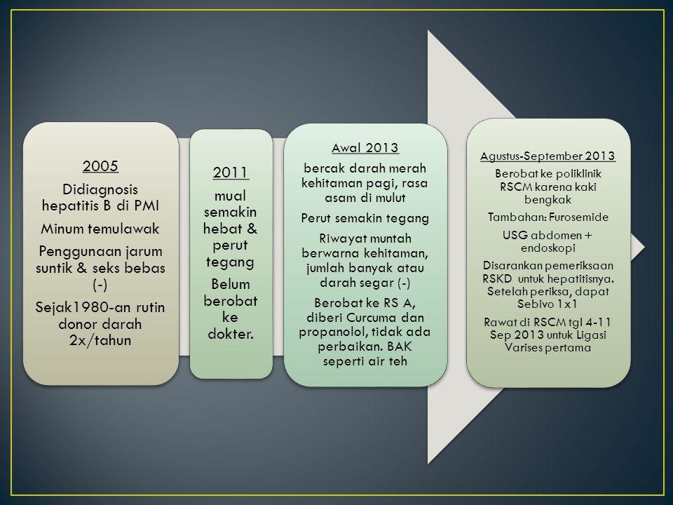 2005 Didiagnosis hepatitis B di PMI Minum temulawak Penggunaan jarum suntik & seks bebas (-) Sejak1980-an rutin donor darah 2x/tahun Agustus-September 2013 Berobat ke poliklinik RSCM karena kaki bengkak Tambahan: Furosemide USG abdomen + endoskopi Disarankan pemeriksaan RSKD untuk hepatitisnya.