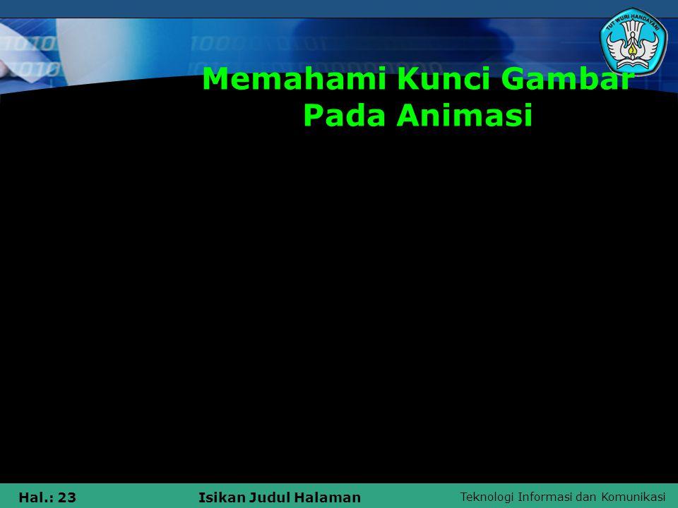 Teknologi Informasi dan Komunikasi Hal.: 23Isikan Judul Halaman Memahami Kunci Gambar Pada Animasi Mendeskripsikan tentang multimedia