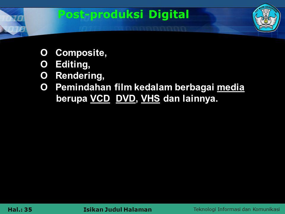 Teknologi Informasi dan Komunikasi Hal.: 35Isikan Judul Halaman Post-produksi Digital  O Composite,  O Editing,  O Rendering,  O Pemindahan film k