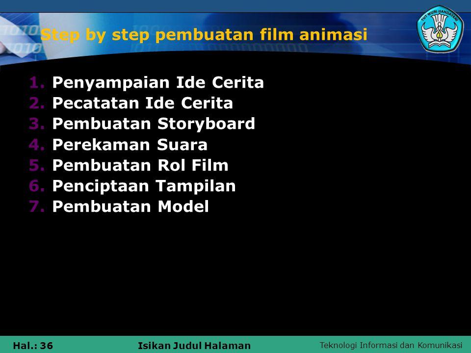 Teknologi Informasi dan Komunikasi Hal.: 36Isikan Judul Halaman Step by step pembuatan film animasi 1.Penyampaian Ide Cerita 2.Pecatatan Ide Cerita 3.
