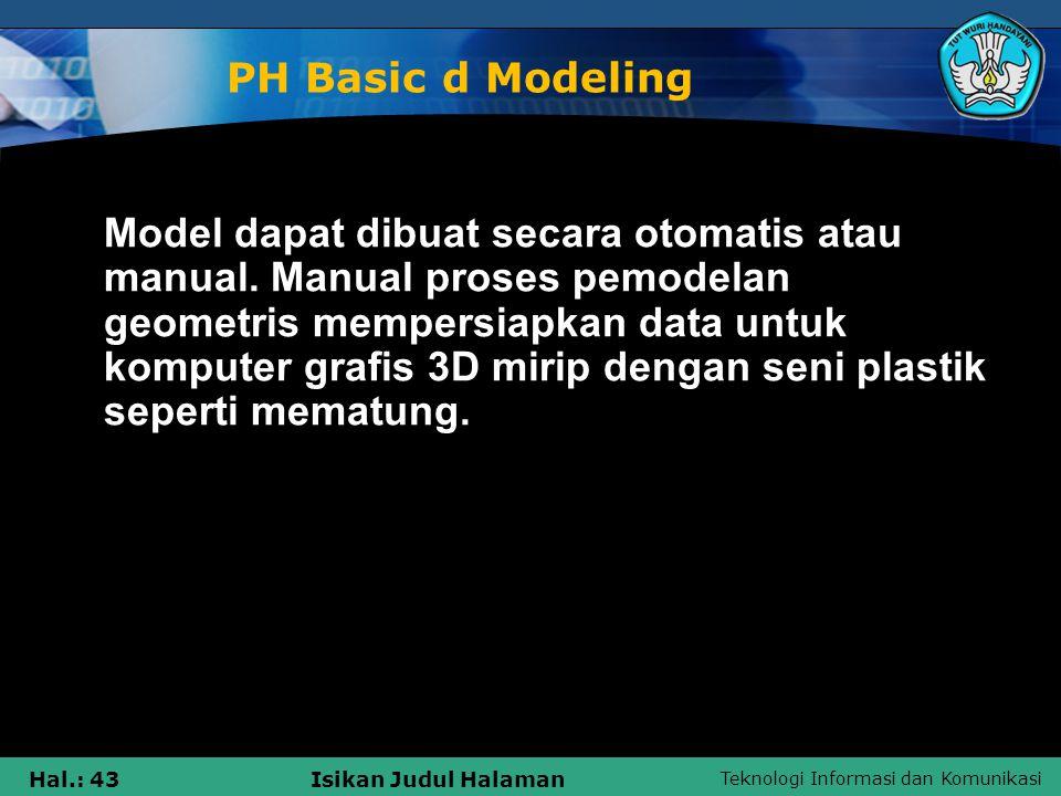 Teknologi Informasi dan Komunikasi Hal.: 43Isikan Judul Halaman PH Basic d Modeling Model dapat dibuat secara otomatis atau manual. Manual proses pemo