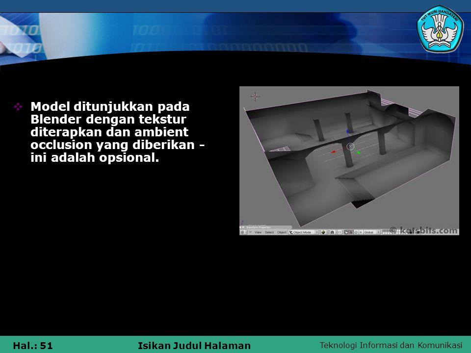 Teknologi Informasi dan Komunikasi Hal.: 51Isikan Judul Halaman  Model ditunjukkan pada Blender dengan tekstur diterapkan dan ambient occlusion yang