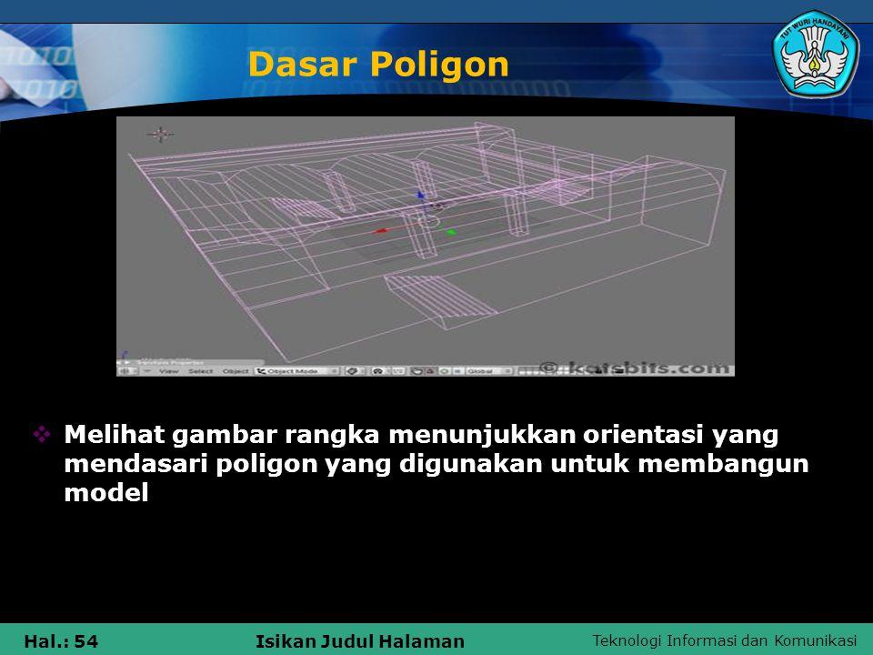 Teknologi Informasi dan Komunikasi Hal.: 54Isikan Judul Halaman Dasar Poligon  Melihat gambar rangka menunjukkan orientasi yang mendasari poligon yan