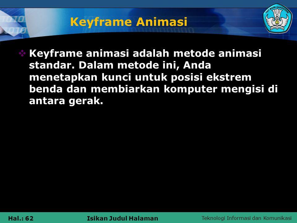 Teknologi Informasi dan Komunikasi Hal.: 62Isikan Judul Halaman Keyframe Animasi  Keyframe animasi adalah metode animasi standar. Dalam metode ini, A