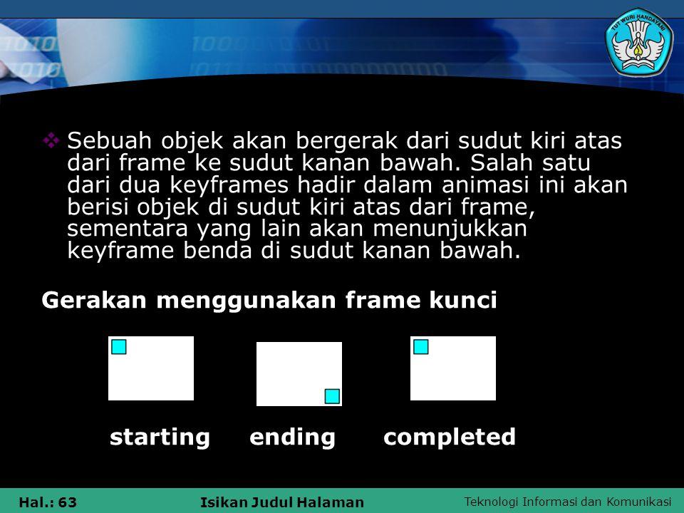 Teknologi Informasi dan Komunikasi Hal.: 63Isikan Judul Halaman  Sebuah objek akan bergerak dari sudut kiri atas dari frame ke sudut kanan bawah. Sal