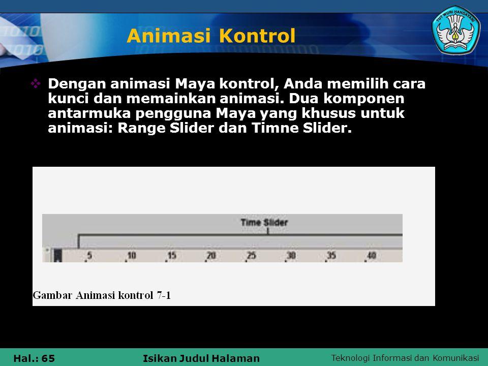 Teknologi Informasi dan Komunikasi Hal.: 65Isikan Judul Halaman Animasi Kontrol  Dengan animasi Maya kontrol, Anda memilih cara kunci dan memainkan a