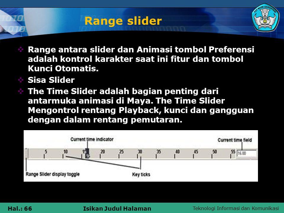 Teknologi Informasi dan Komunikasi Hal.: 66Isikan Judul Halaman Range slider  Range antara slider dan Animasi tombol Preferensi adalah kontrol karakt