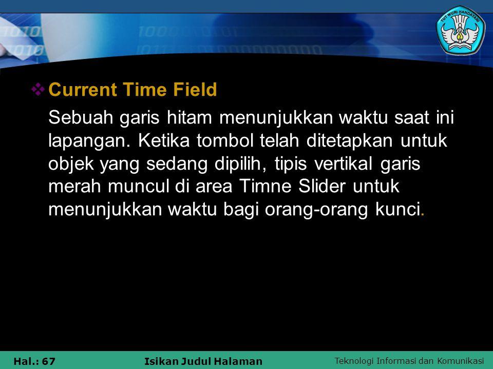 Teknologi Informasi dan Komunikasi Hal.: 67Isikan Judul Halaman  Current Time Field Sebuah garis hitam menunjukkan waktu saat ini lapangan. Ketika to