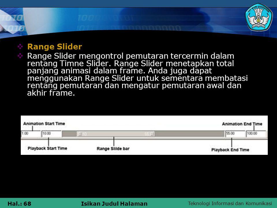 Teknologi Informasi dan Komunikasi Hal.: 68Isikan Judul Halaman  Range Slider  Range Slider mengontrol pemutaran tercermin dalam rentang Timne Slide