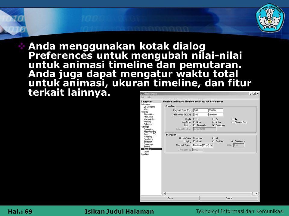 Teknologi Informasi dan Komunikasi Hal.: 69Isikan Judul Halaman  Anda menggunakan kotak dialog Preferences untuk mengubah nilai-nilai untuk animasi t
