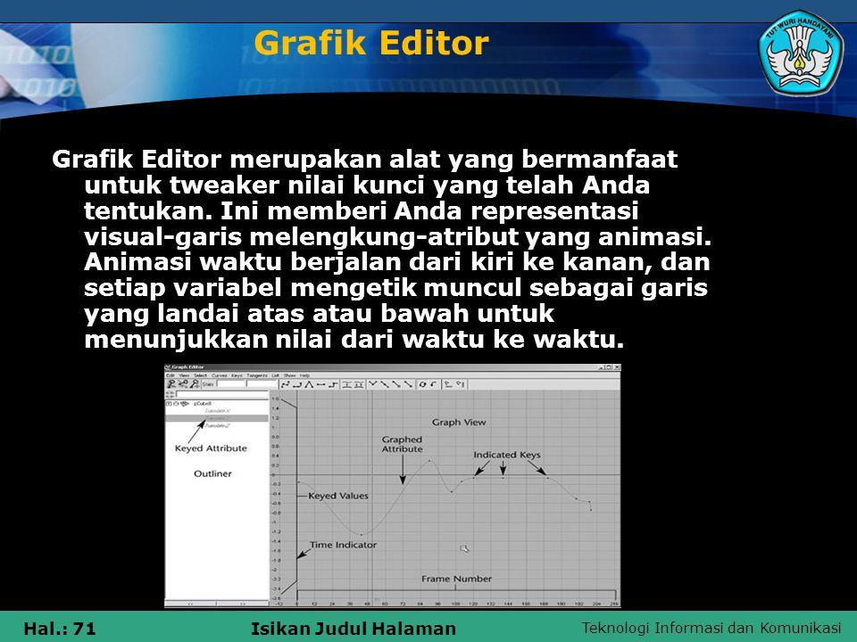 Teknologi Informasi dan Komunikasi Hal.: 71Isikan Judul Halaman Grafik Editor Grafik Editor merupakan alat yang bermanfaat untuk tweaker nilai kunci y