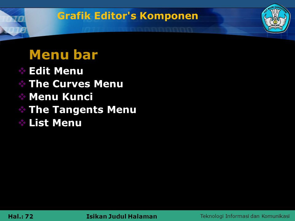 Teknologi Informasi dan Komunikasi Hal.: 72Isikan Judul Halaman Grafik Editor's Komponen Menu bar  Edit Menu  The Curves Menu  Menu Kunci  The Tan